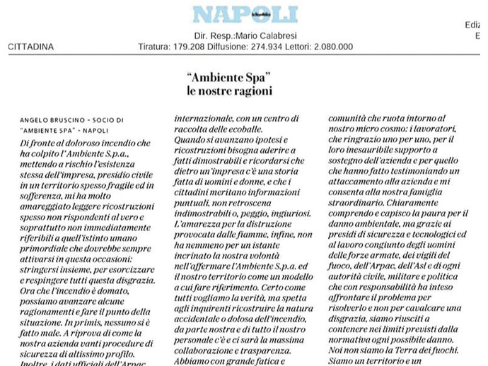Incendio, Angelo Bruscino scrive su la Repubblica