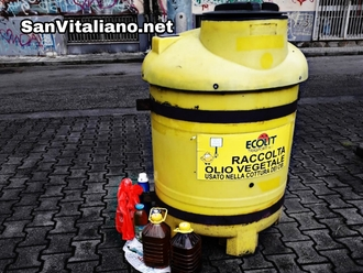 San Vitaliano, olio lasciato nelle taniche e non versato nel bidone comunale: sapete che fine fa ?
