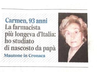 Sanvitalianesi che fanno storia: Lei è Carmen Spiezia, la farmacista più longeva d