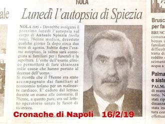 Rassegna stampa, domani autopsia per il dott. Spiezia sulle pagine di Cronache Di Napoli