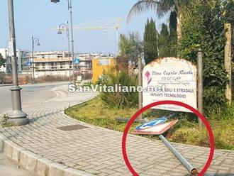 San Vitaliano, ristabilita la segnaletica verticale della rotonda di Via D