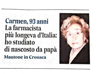 Donne che scrivono la storia: questa festa la dedichiamo alla sanvitalianese Carmen Spiezia