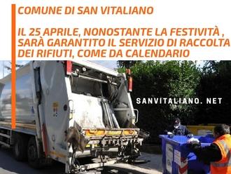 San Vitaliano, raccolta differenziata: domani servizio garantito nonostante il giorno festivo.