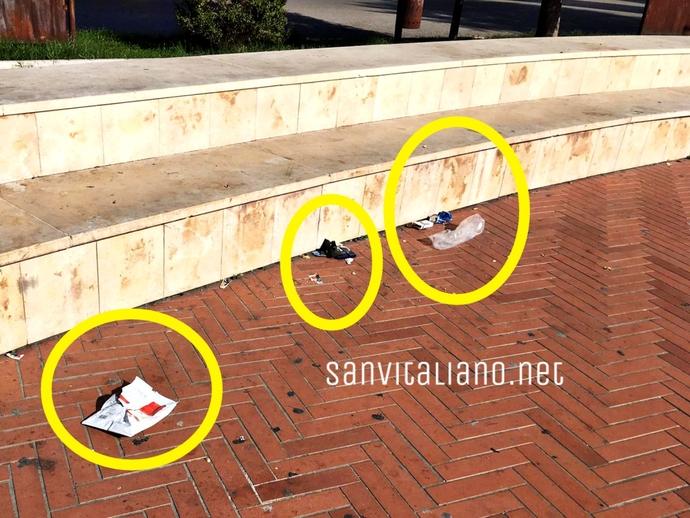 San Vitaliano, lasciano piazza Da Vinci sporca, il Consigliere Serpico:sconfortato dal menefreghismo