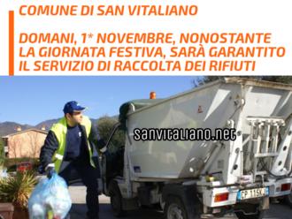 San Vitaliano, Domani 1* Novembre sarà garantito il servizio di raccolta differenziata