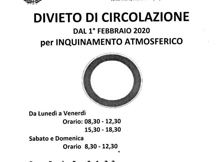 San Vitaliano, divieto di circolazione per inquinamento atmosferico: al via l