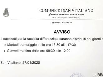 San Vitaliano, raccolta differenziata: ecco il nuovo calendario per il ritiro dei kit delle buste