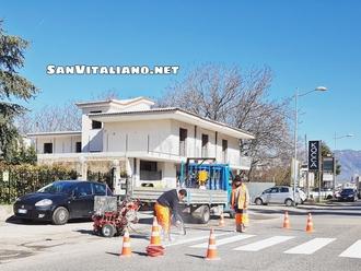 San Vitaliano, via Nazionale stamane si fa bella: ecco la segnaletica orizzontale