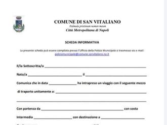 Coronavirus, se venite dalle zone rosse, compilate il modulo ed inviatelo al Comune di San Vitaliano