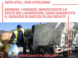 San Vitaliano, domani 1 maggio, garantito il servizio di raccolta differenziata