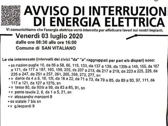 San Vitaliano, ATTENZIONE: oggi 3 luglio mancherà corrente elettrica per lavori