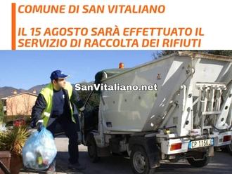 San Vitaliano, confermata la raccolta differenziata per domani 15 agosto