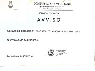 San Vitaliano, sospeso il servizio di distribuzione buste per la raccolta differenziata