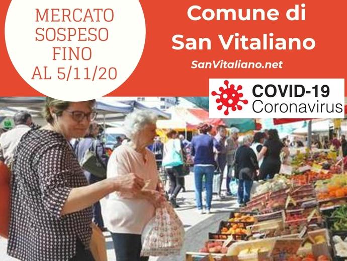 San Vitaliano e Covid, Mercato sospeso fino al 5 novembre