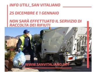 San Vitaliano, niente raccolta dei rifiuti a Natale e Capodanno: