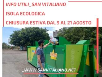 San Vitaliano, isola ecologica chiusa dal 9 al 21 agosto